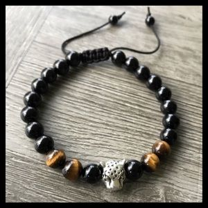 Men or women onyx & tiger eye panther bracelet